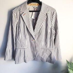 CAbi Ticking Stripe blazer style #793 size 14
